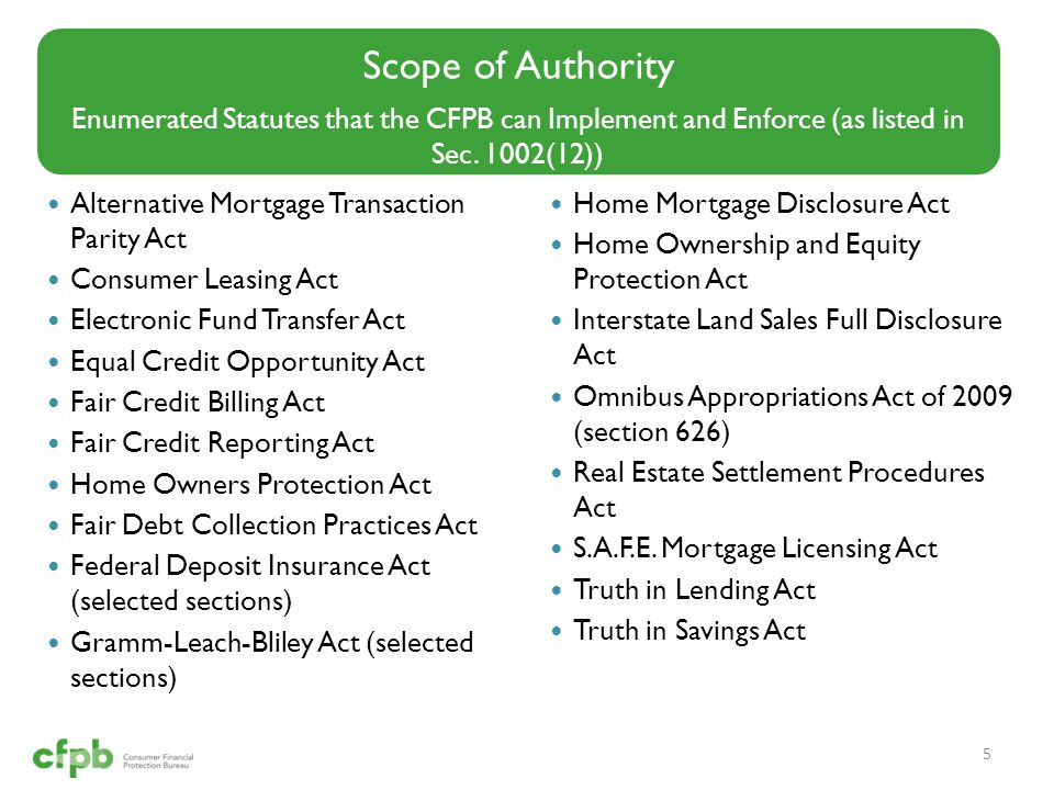 Scope of Authority Enumerated Statutes that the CFPB can Implement and Enforce (as listed in Sec. 1002(12))