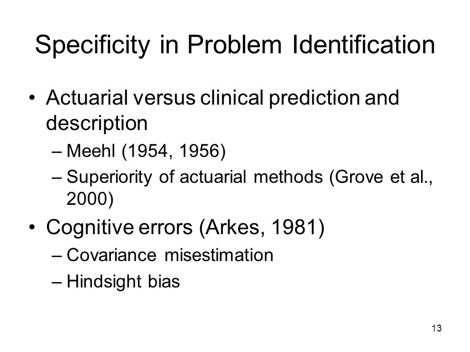 Specificity in Problem Identification