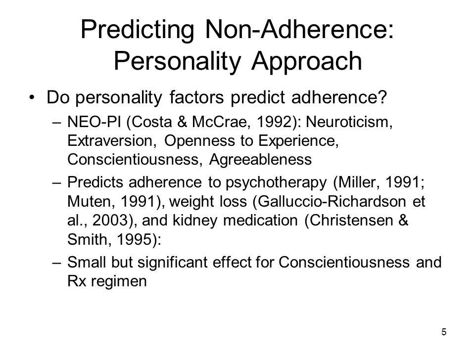 Predicting Non-Adherence: Personality Approach