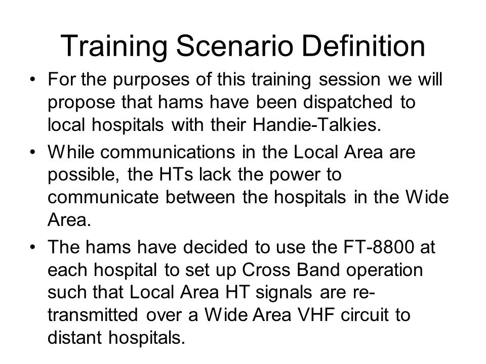 Training Scenario Definition