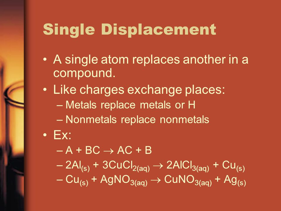 Single Displacement A single atom replaces another in a compound.