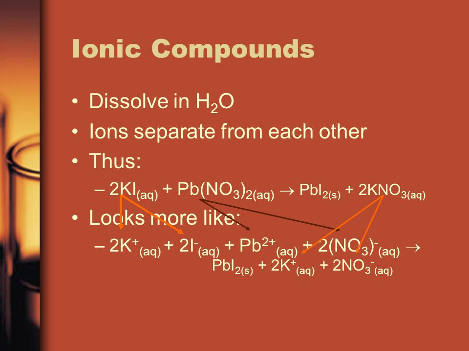 Ionic Compounds Dissolve in H2O Ions separate from each other Thus: