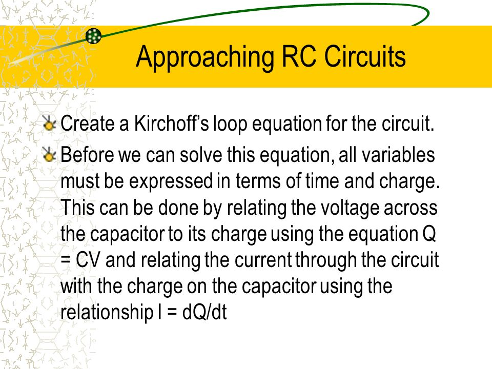Approaching RC Circuits