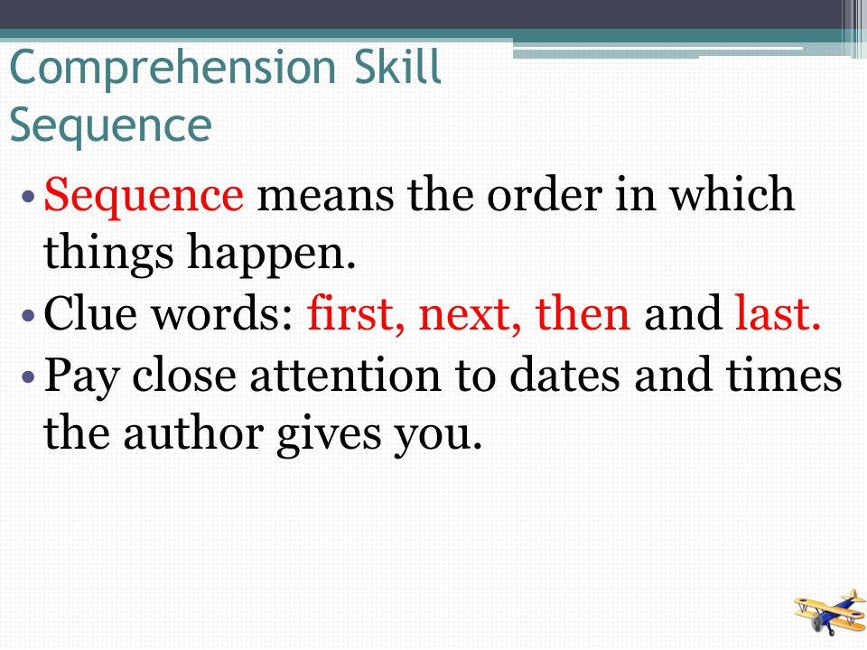 Comprehension Skill Sequence