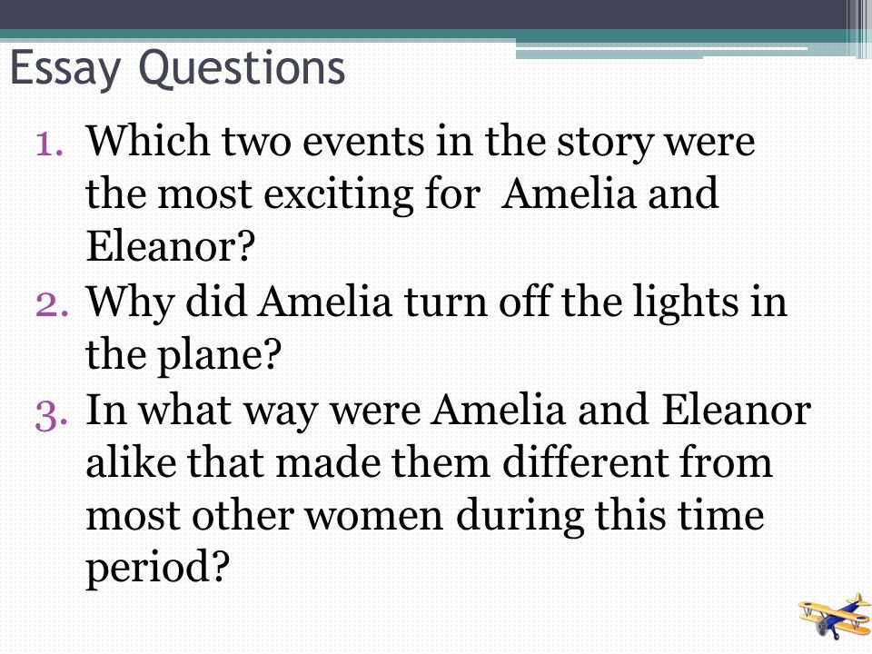 Essay Questions Which two events in the story were the most exciting for Amelia and Eleanor Why did Amelia turn off the lights in the plane