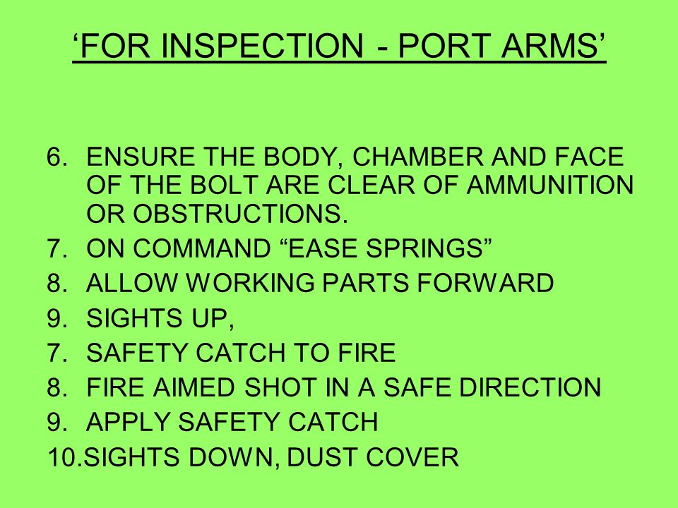 'FOR INSPECTION - PORT ARMS'