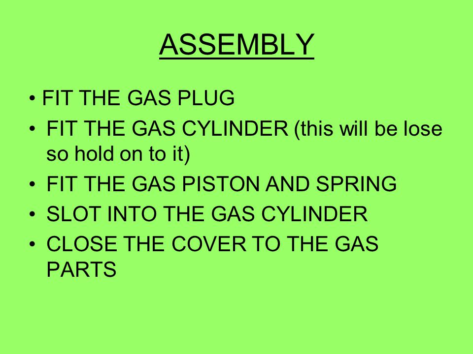 ASSEMBLY • FIT THE GAS PLUG
