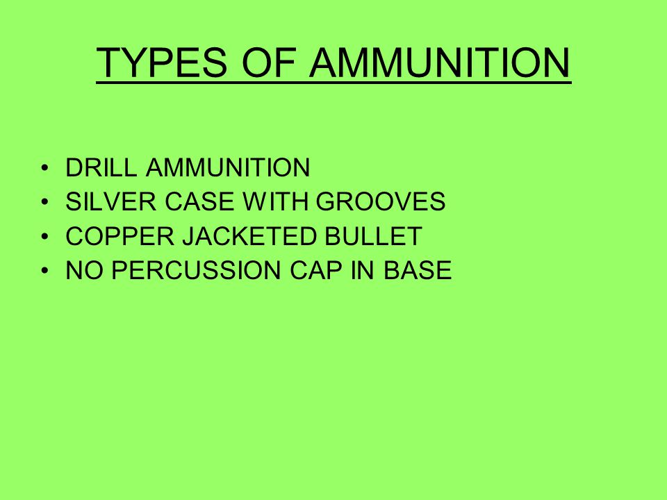 TYPES OF AMMUNITION DRILL AMMUNITION SILVER CASE WITH GROOVES