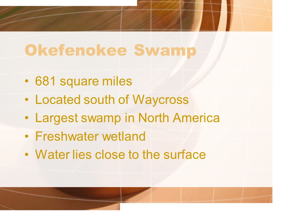 Okefenokee Swamp 681 square miles Located south of Waycross