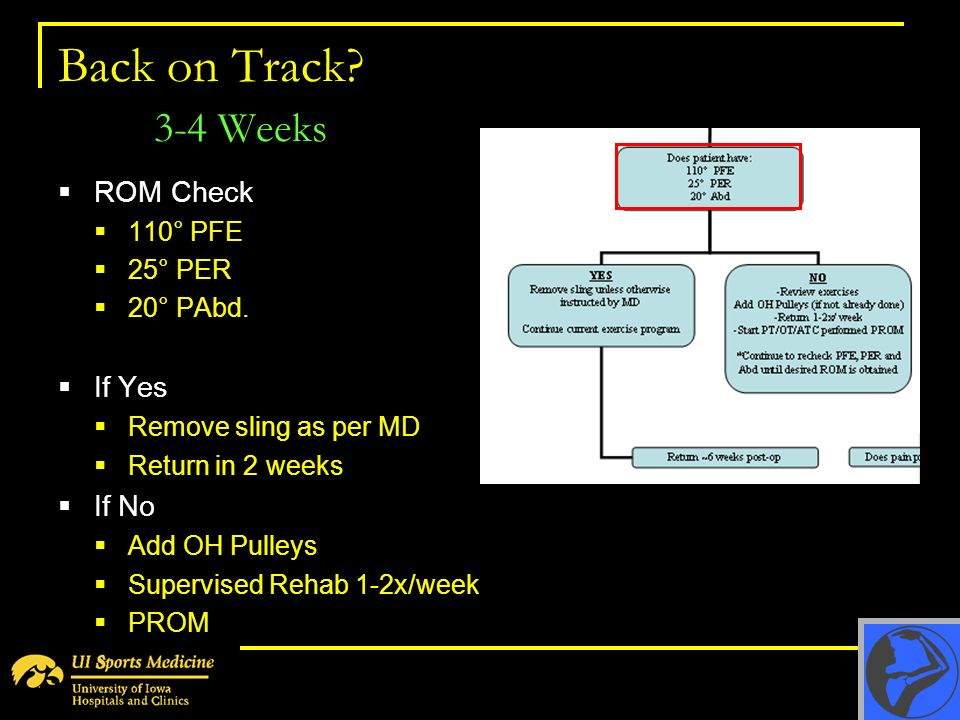Back on Track 3-4 Weeks ROM Check If Yes If No 110° PFE 25° PER