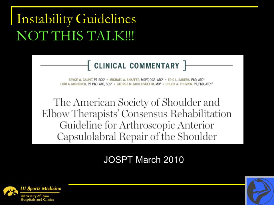 Instability Guidelines NOT THIS TALK!!!