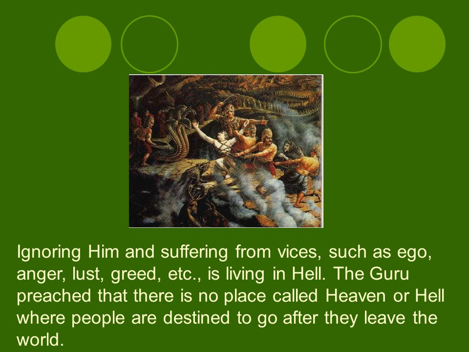 Ignoring Him and suffering from vices, such as ego, anger, lust, greed, etc., is living in Hell.