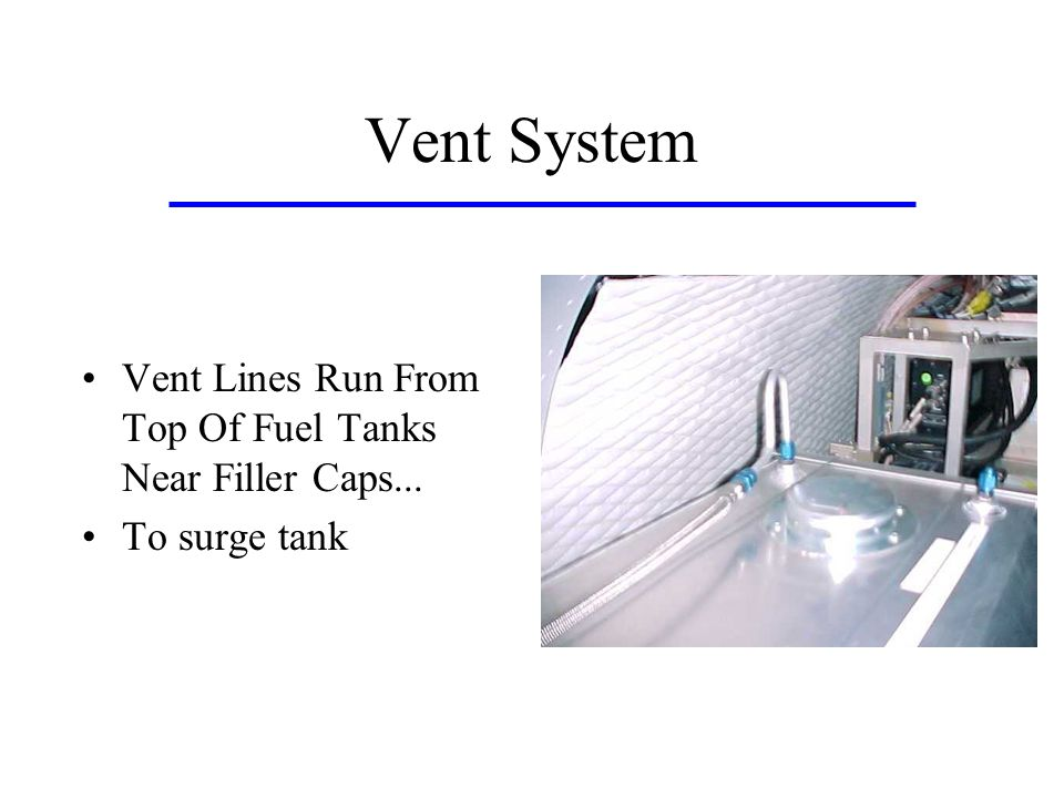Vent System Vent Lines Run From Top Of Fuel Tanks Near Filler Caps...