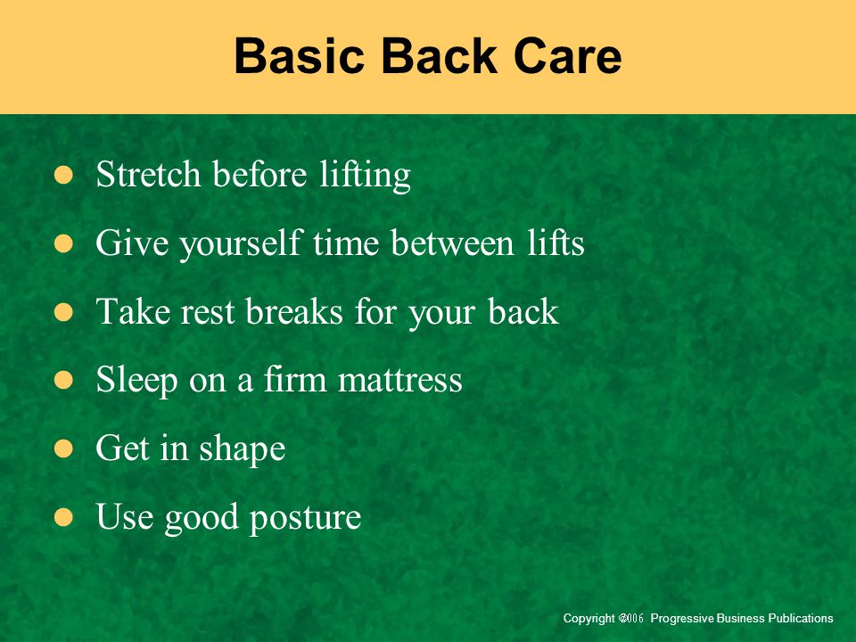 Basic Back Care Stretch before lifting