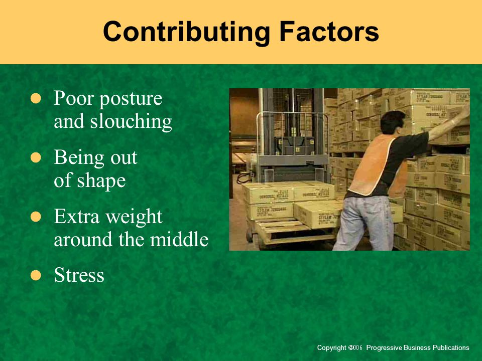 Contributing Factors Poor posture and slouching Being out of shape