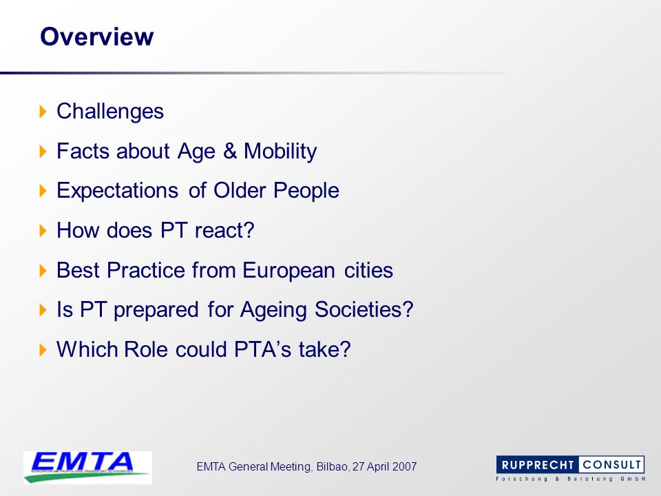Overview Challenges Facts about Age & Mobility