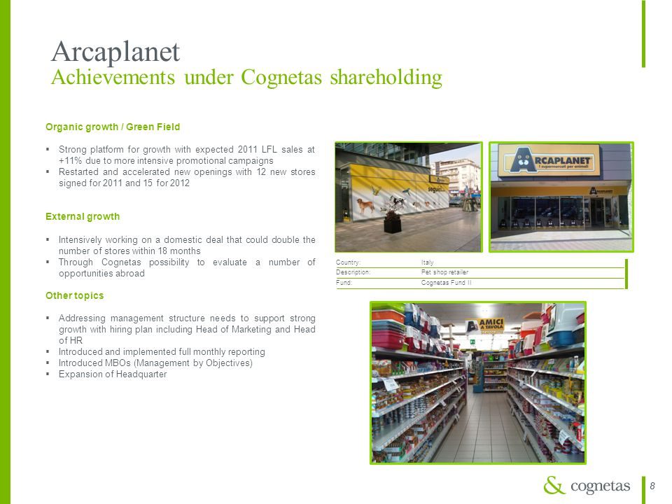 Arcaplanet Achievements under Cognetas shareholding