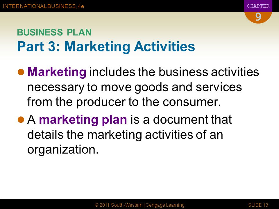 BUSINESS PLAN Part 3: Marketing Activities