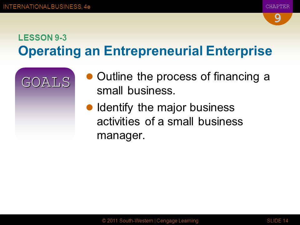 LESSON 9-3 Operating an Entrepreneurial Enterprise