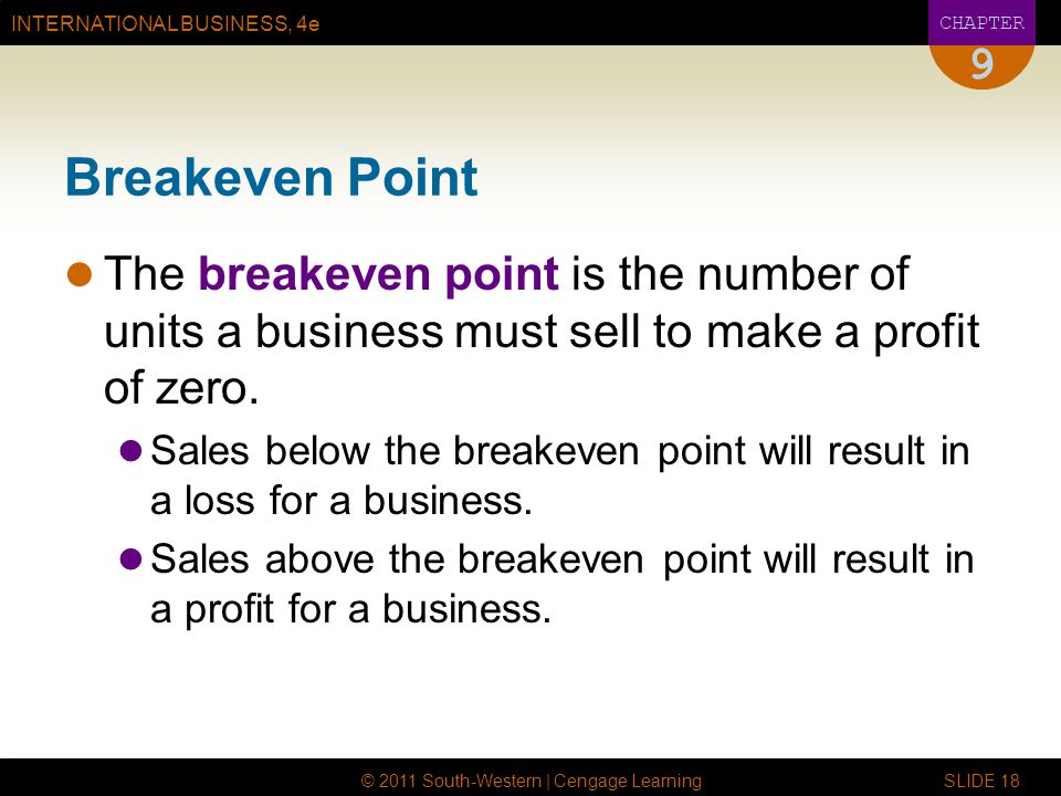 9 Breakeven Point. The breakeven point is the number of units a business must sell to make a profit of zero.