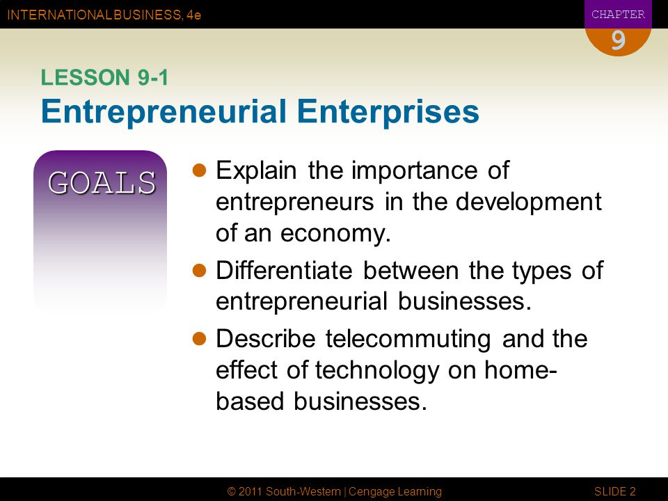 LESSON 9-1 Entrepreneurial Enterprises
