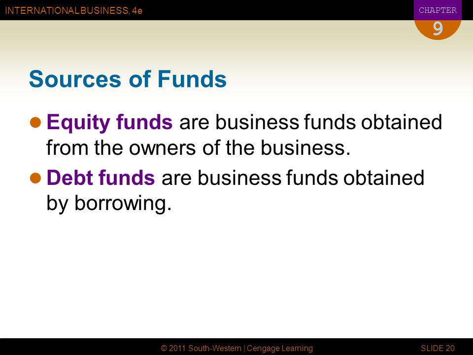 9 Sources of Funds. Equity funds are business funds obtained from the owners of the business.