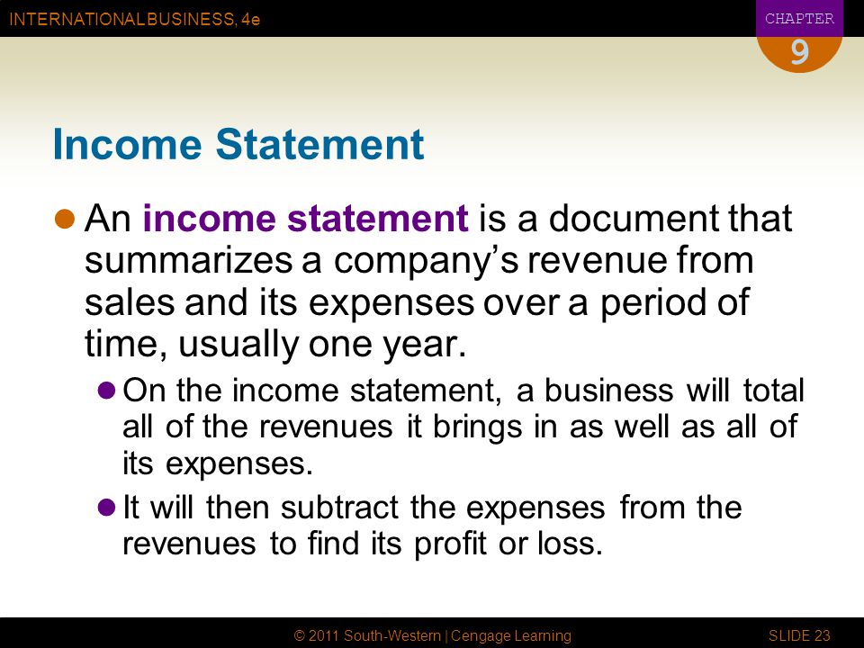9 Income Statement.