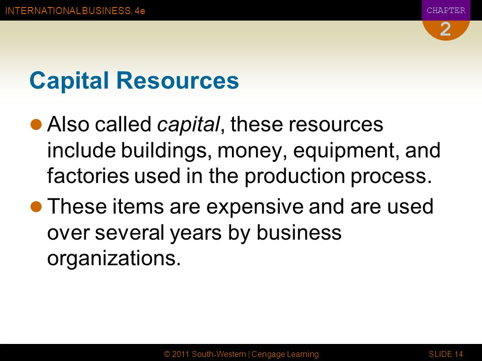 2 Capital Resources. Also called capital, these resources include buildings, money, equipment, and factories used in the production process.