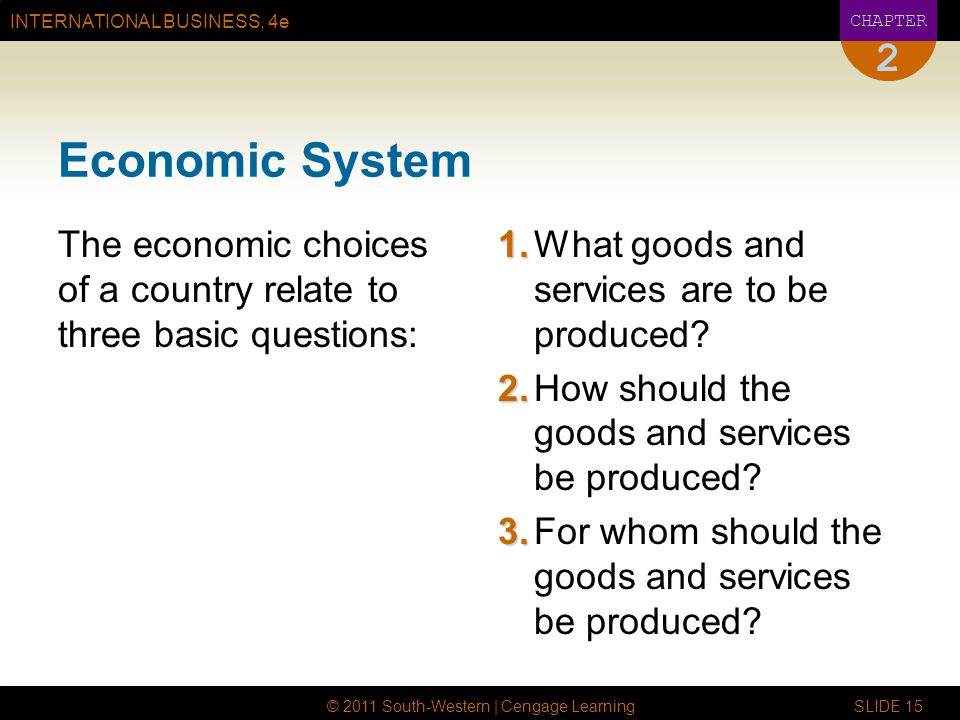 2 Economic System. The economic choices of a country relate to three basic questions: 1. What goods and services are to be produced