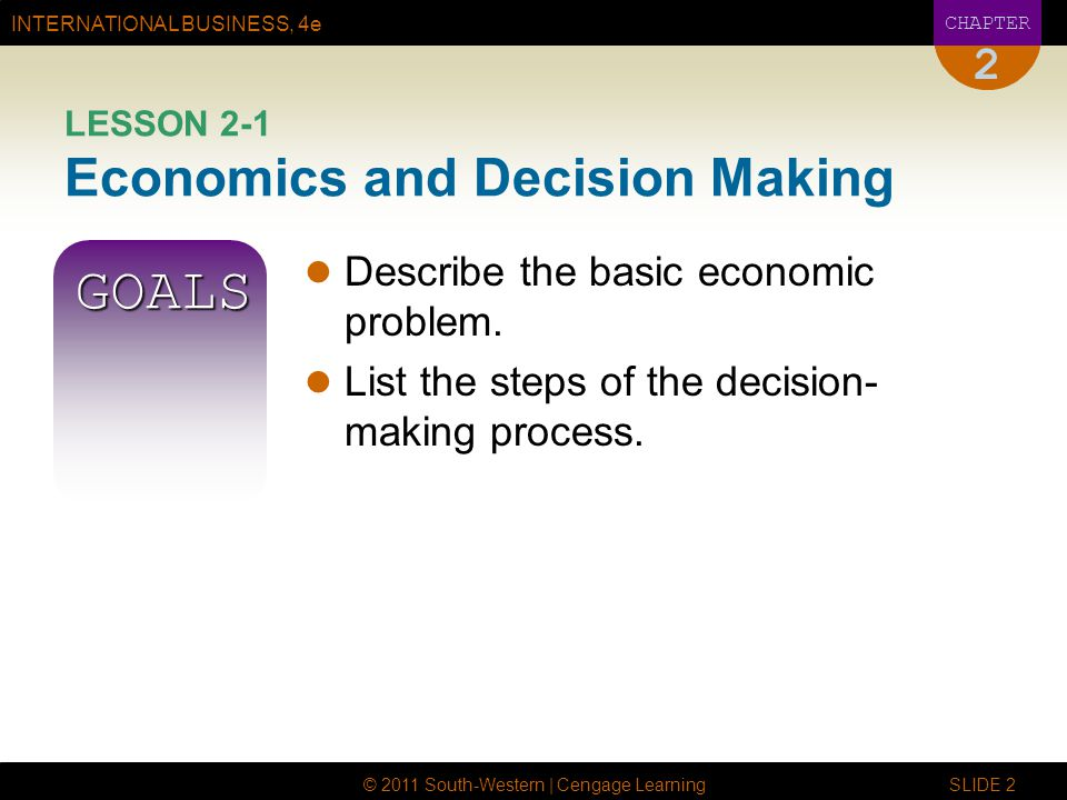 LESSON 2-1 Economics and Decision Making