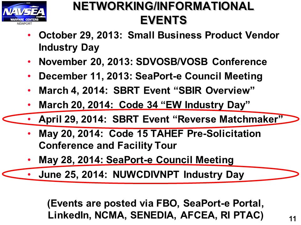 NETWORKING/INFORMATIONAL EVENTS