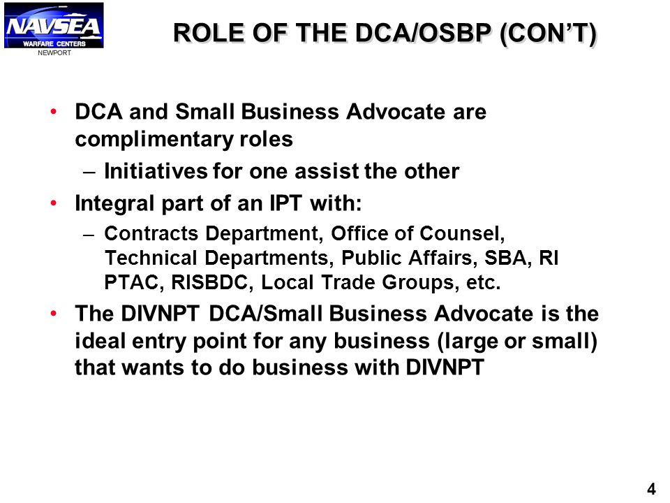 ROLE OF THE DCA/OSBP (CON'T)