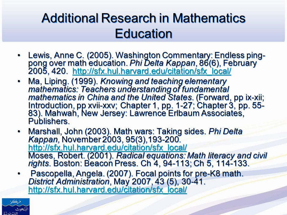 Additional Research in Mathematics Education