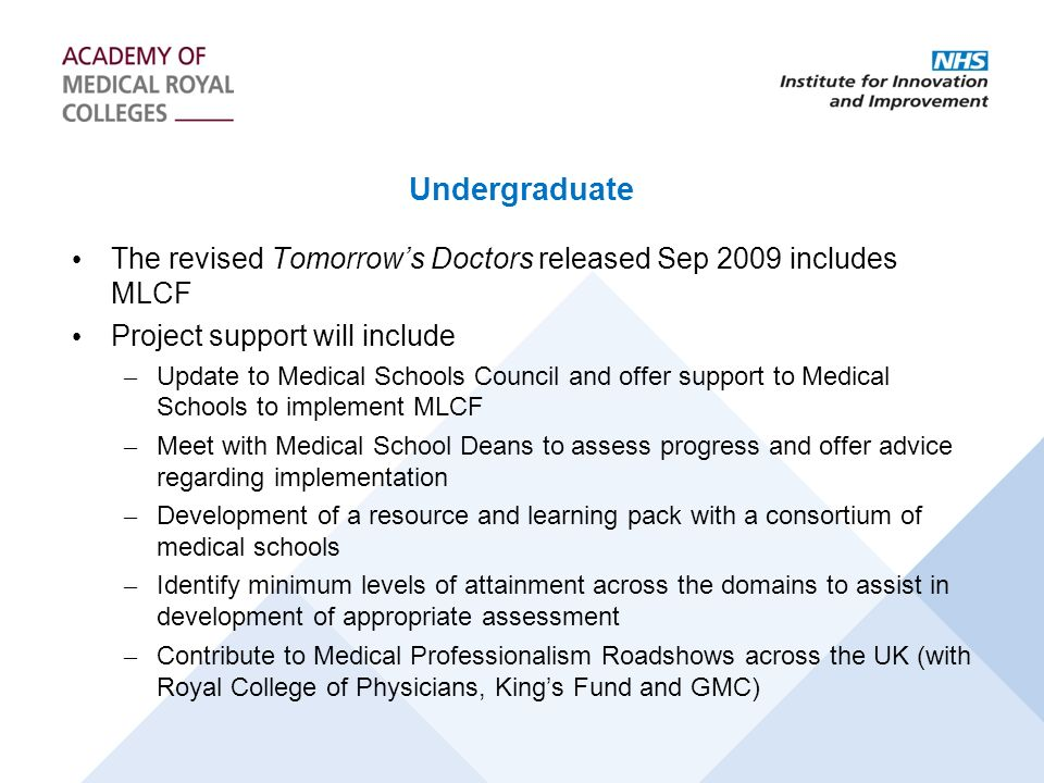 Undergraduate The revised Tomorrow's Doctors released Sep 2009 includes MLCF. Project support will include.