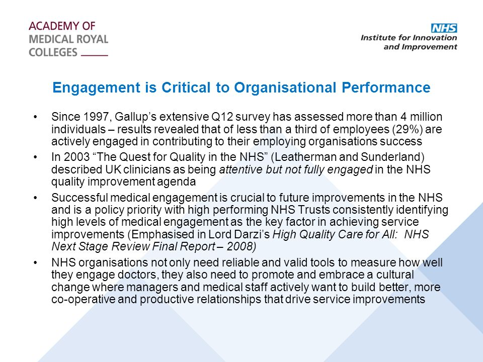 Engagement is Critical to Organisational Performance