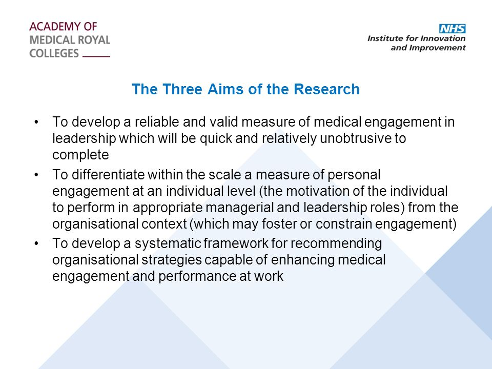 The Three Aims of the Research