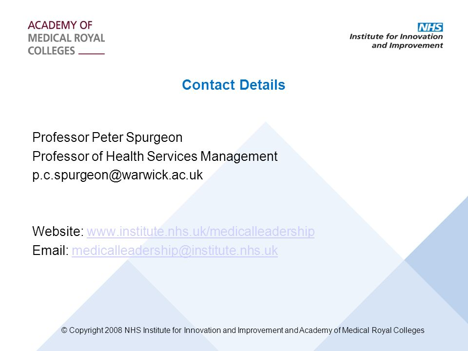 Contact Details Professor Peter Spurgeon