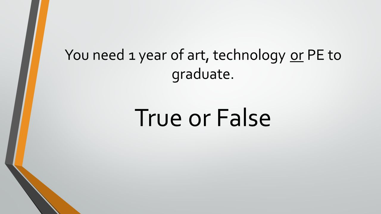 You need 1 year of art, technology or PE to graduate.