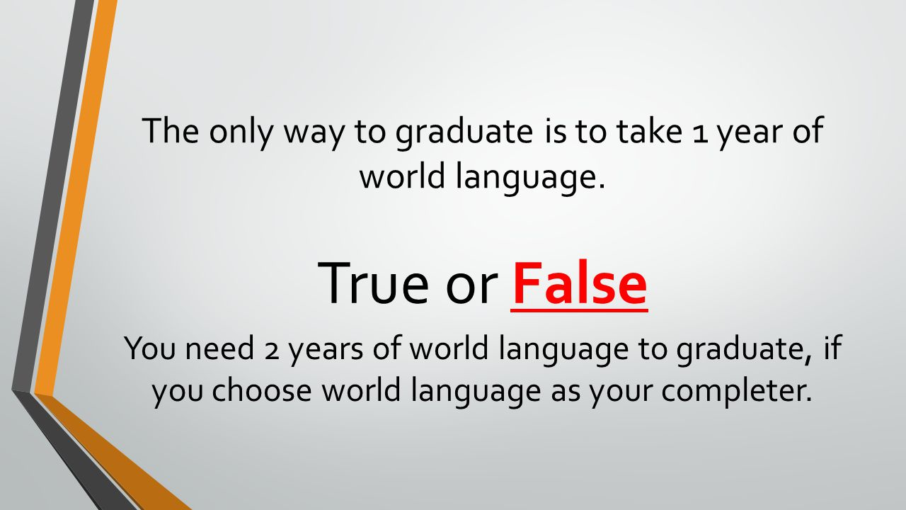 The only way to graduate is to take 1 year of world language.