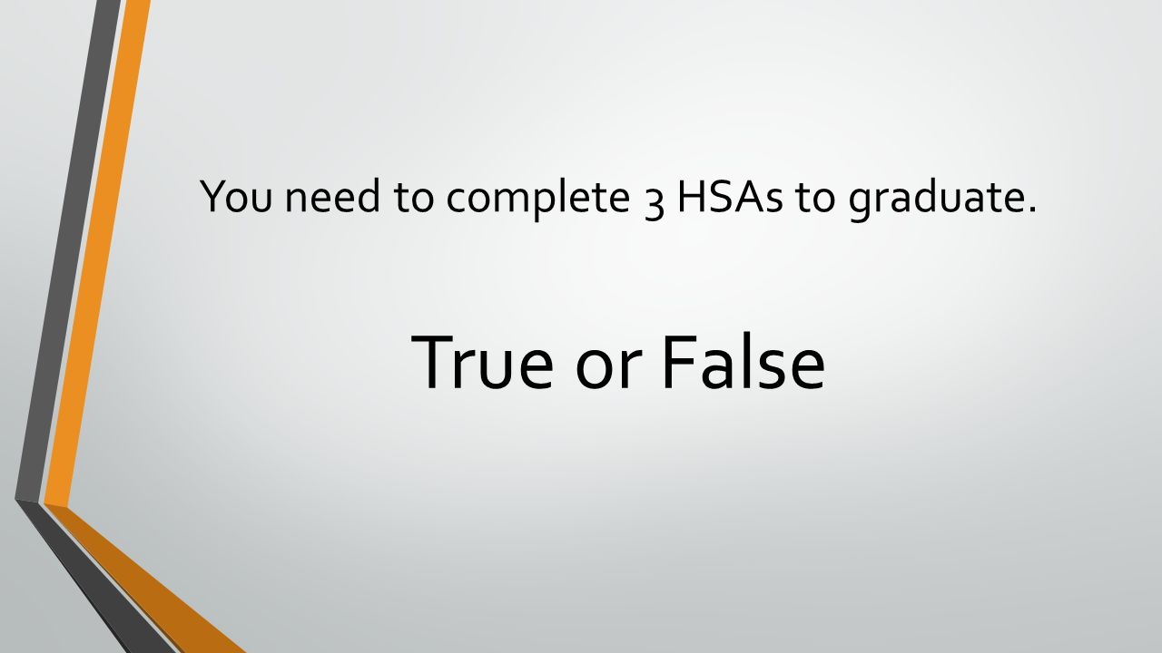 You need to complete 3 HSAs to graduate.