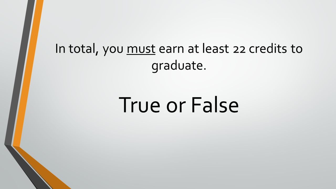 In total, you must earn at least 22 credits to graduate.