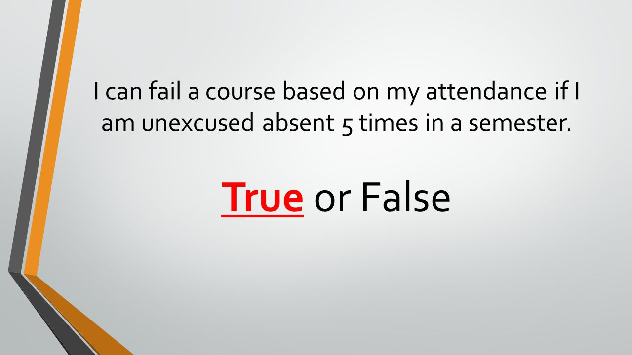 I can fail a course based on my attendance if I am unexcused absent 5 times in a semester.