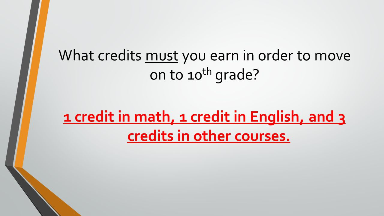 What credits must you earn in order to move on to 10th grade
