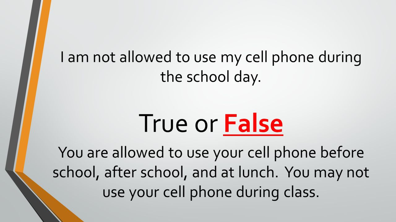 I am not allowed to use my cell phone during the school day.