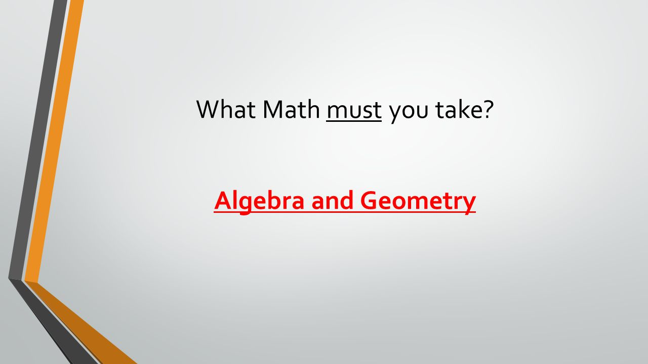 What Math must you take Algebra and Geometry