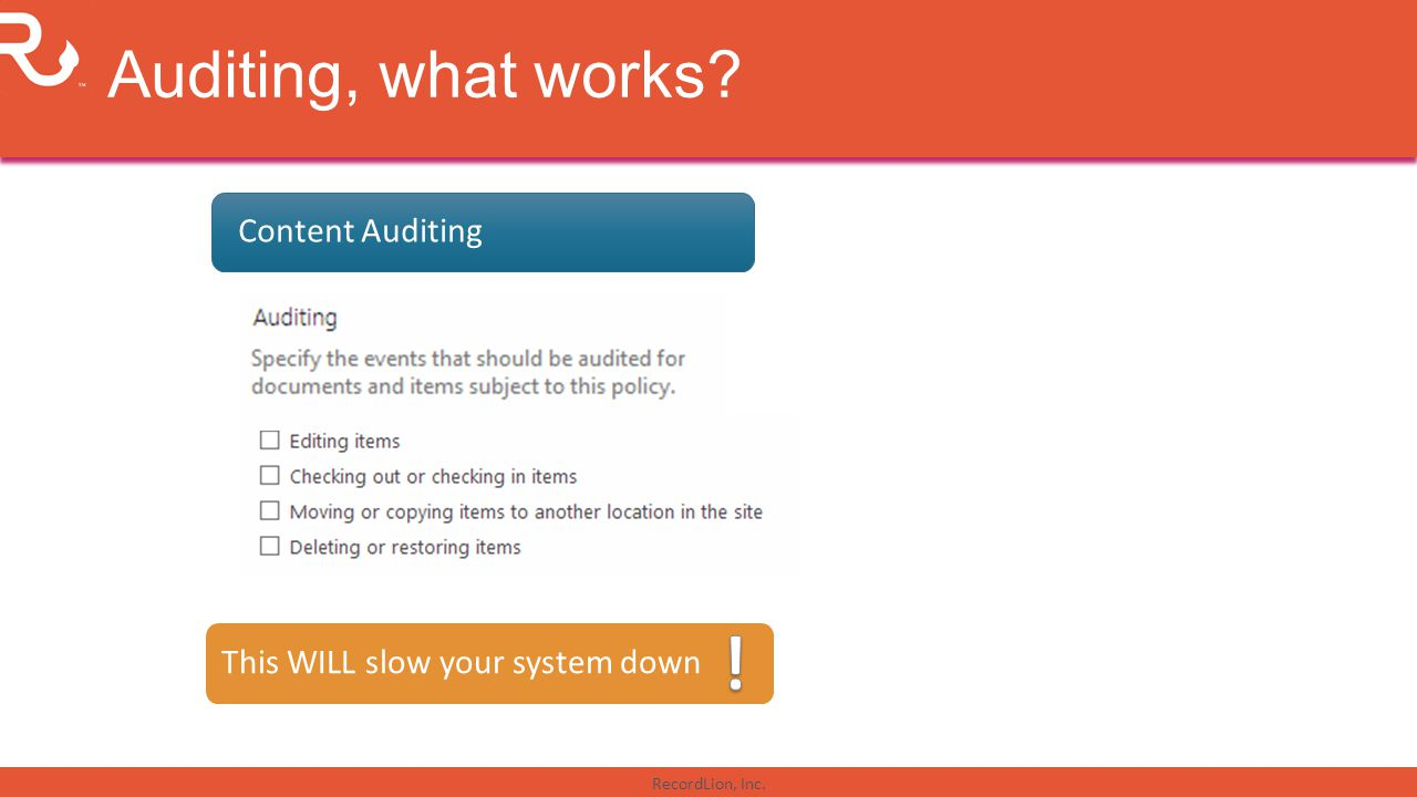 ! Auditing, what works Content Auditing