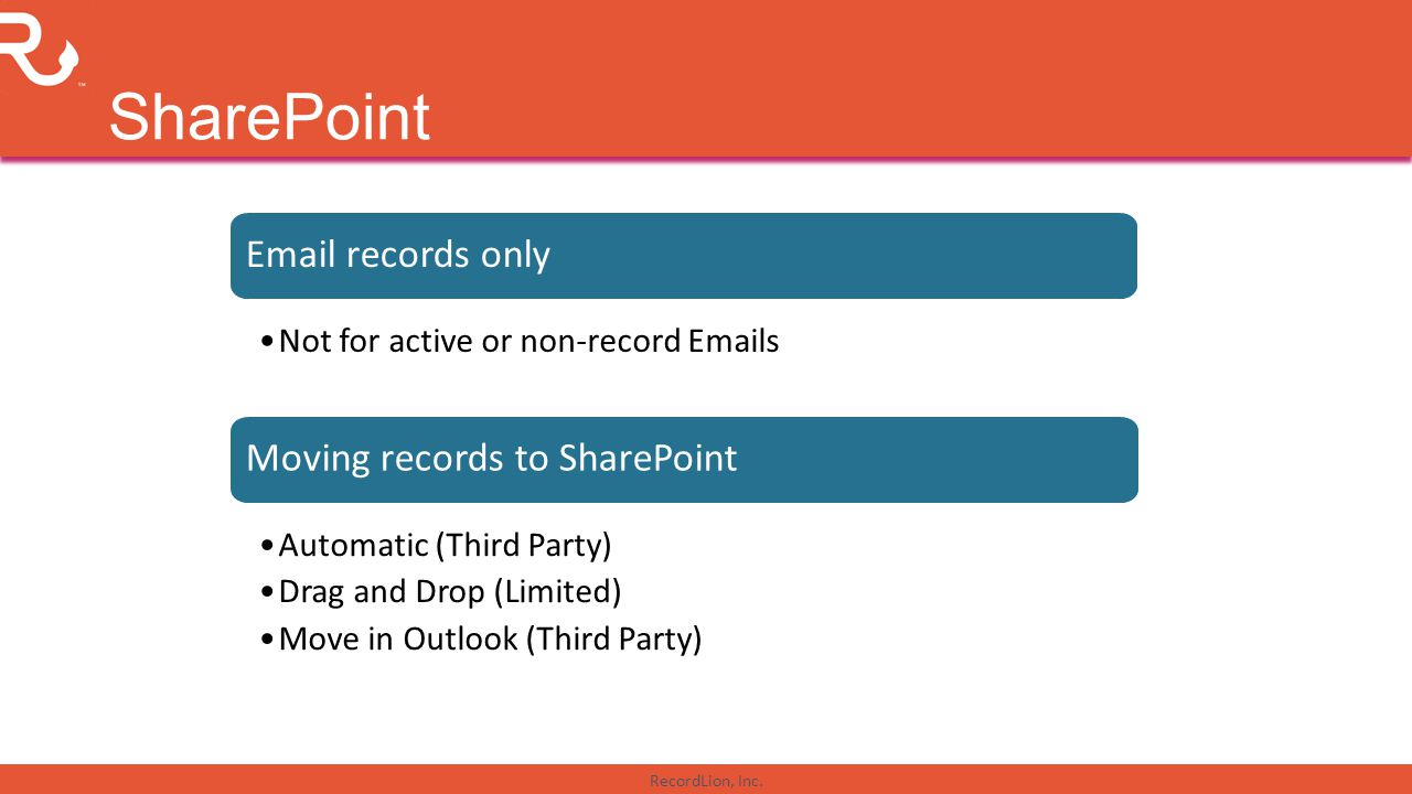 SharePoint Email records only Moving records to SharePoint