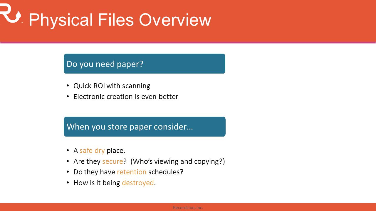 Physical Files Overview