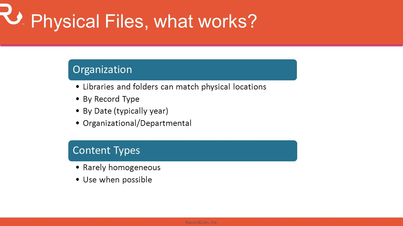 Physical Files, what works