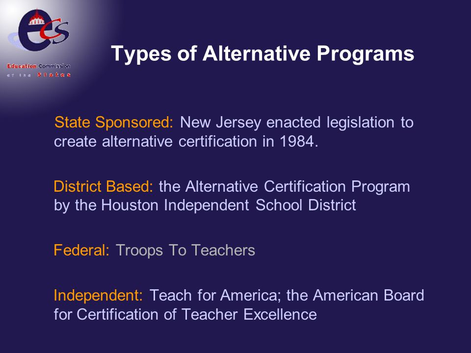 Alternative Certification A National Perspective Ppt